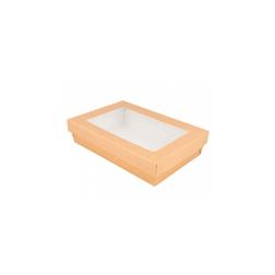 Contenitore con coperchio e finestra in carta marrone cm 21x14x5