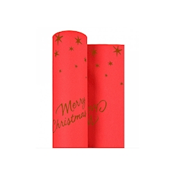 Rotolo tovaglia Merry Christmas in airlaid rosso mt 25x1,20