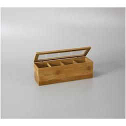Porta bustine 4 scomparti in bamboo cm 26x8x8