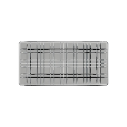 Vassoio rettangolare Square Smoke in vetro grigio cm 28x14