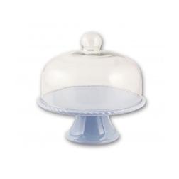 Alzata torta in porcellana azzurra con cupola in vetro cm 28x10