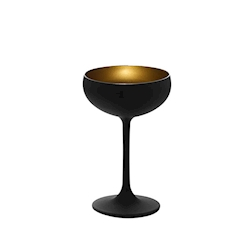Coppa champagne Olympic Stolzle in vetro bicolore nero e oro cl 23