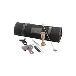 Roll bag Essential Bar Fly nera con 6 pezzi in acciaio inox ramato anticato