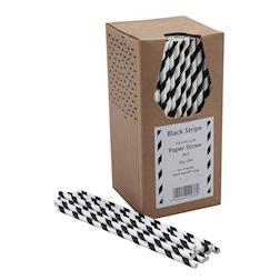 Cannucce biodegradabili con decoro a spirale in carta bianca e nera cm 20x0,6