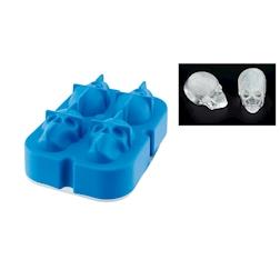 Stampo ghiaccio teschio 4 stampi in silicone blu cm 11,5x8,5