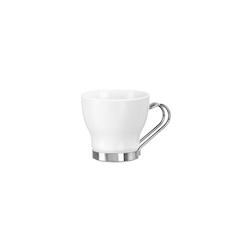 Bicchiere punch Oslo Bormioli Rocco con manico in acciaio inox in vetro bianco cl 10