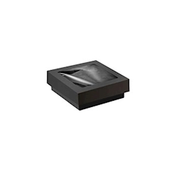 Scatola per alimenti da forno monouso in cartone nero con coperchio a finestra cm 11,5x11,5x4,5