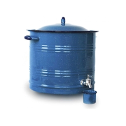 Dispenser drink 100% Chef con coperchio in acciaio smaltato azzurro lt 19