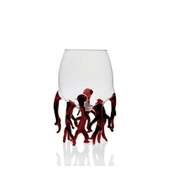 Bicchiere Corallo Rosso 100% Chef in vetro borosilicato trasparente e rosso cl 25
