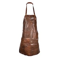 Grembiule Kolos Gradiator con pettorina e 2 tasche in pelle marrone cm 63x83