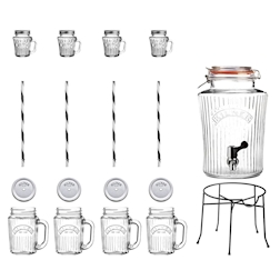 Set con dispenser Kilner lt 5, supporto, 4 boccali cl 40 con cannucce, 4 mini boccali cl 11