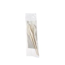 Bis posate Midi biodegradabili bianche con tovagliolo bianco