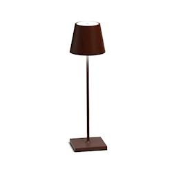 Lampada ricaricabile da tavolo Poldina Zafferano in alluminio corten cm 38