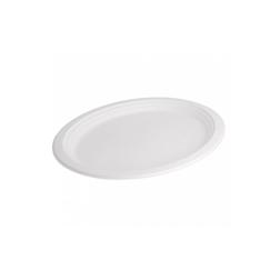 Piatto ovale Bionic in bagassa bianca cm 32x25,5