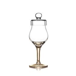 Calice Amber Glass whisky con coperchio e stelo ambrato in vetro cl 10