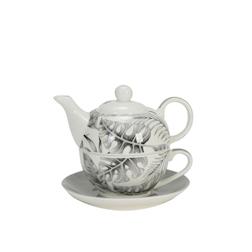 Tea For One Giungla grigia in porcellana decorata