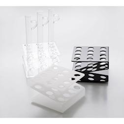 Vassoio per provette 12 fori 100% Chef in acrilico trasparente cm 11x11x7