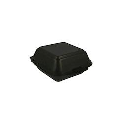 Contenitore per hamburger con coperchio in polistirolo nero cm 15x15x7