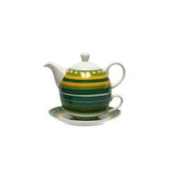 Tea for One con piatto decorato a righe verdi