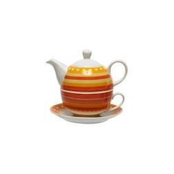 Tea for One con piatto decorato a righe gialle