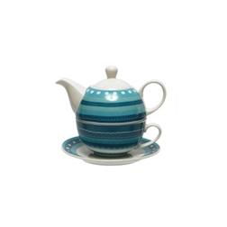 Tea for One con piatto decorato a righe azzurre