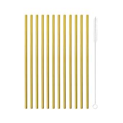 Cannuccia dritta in acciaio color oro cm 21x0,5