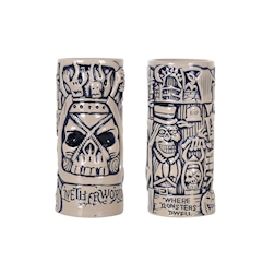 Tiki mug Monster in porcellana beige e blu cl 45