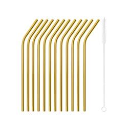 Cannuccia piegata in acciaio inox dorato cm 21x0,5