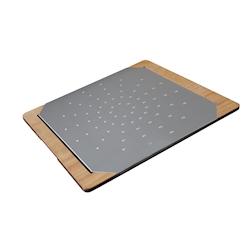 Tagliere Giusto per pinsa e pizza in acciaio inox e legno cm 60x50