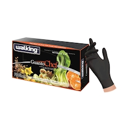 Guanti monouso Chef senza polvere in nitrile nero taglia L