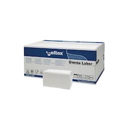 Asciugamani piegati a V Omnia Labor in cellulosa bianca