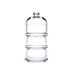 Set 3 coppette con cupola Patisserie Pasabahce in vetro cm 10
