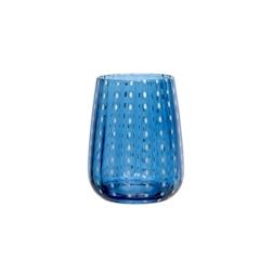Bicchiere Perlage in vetro soffiato blu cl 36