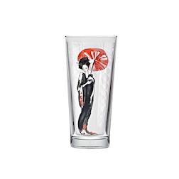 Bicchiere hi-ball Niho Geisha in vetro con decoro a geisha cl 36