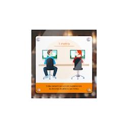 Pannello informativo 'Distanza Ufficio' con ventose in pvc cm 49x49