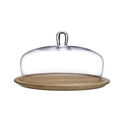 Piatto torta con cupola Meringue Nude in vetro e legno cm 32