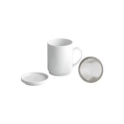 Tazza tè e tisana con coperchio e filtro in porcellana bianca cl 17
