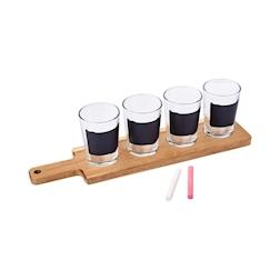 Set 4 bicchieri da birra con lavagna completo di supporto in legno e 2 gessetti