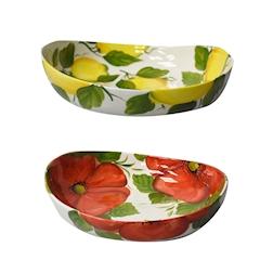 Bowl ovale in ceramica dipinta a mano in colori assortiti cm 29x27