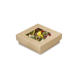 Contenitore Nomipack con coperchio a finestra in carta marrone cm 11,5x11,5x4