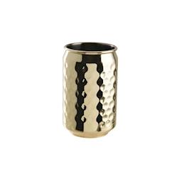 Bicchiere lattina in acciaio inox martellato color oro cl 49