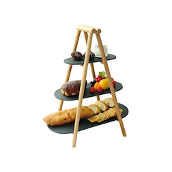 Alzata 3 piani in legno naturale e ardesia nera cm 25x4,5x54