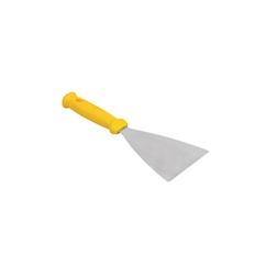 Spatola triangolare flessibile in acciaio inox e manico in polipropilene giallo cm 10