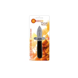 Apri ostriche in acciaio inox con manico in legno nero cm 16,5