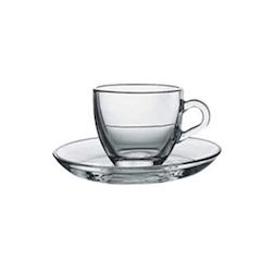 Tazzina caffè con piatto in vetro trasparente cl 9
