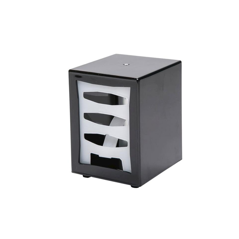 Box portatovaglioli in plastica nera cm 11x9,5x14