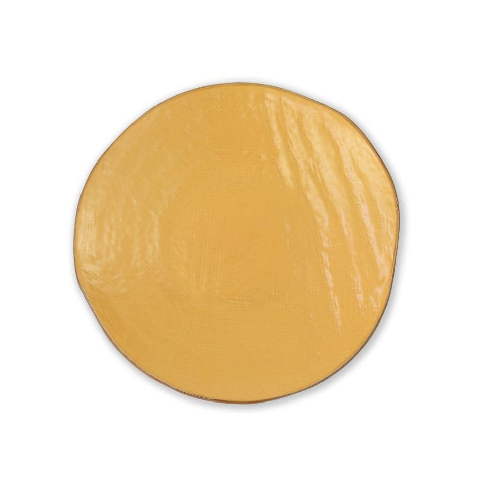 Piatto piano Mediterraneo in ceramica gialla