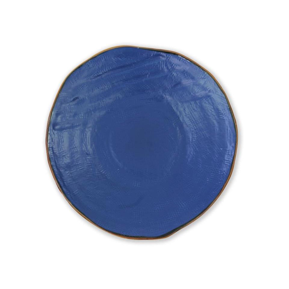 Piatto piano Mediterraneo in ceramica blu