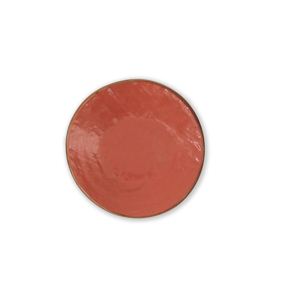 Piatto piano Mediterraneo in ceramica arancio
