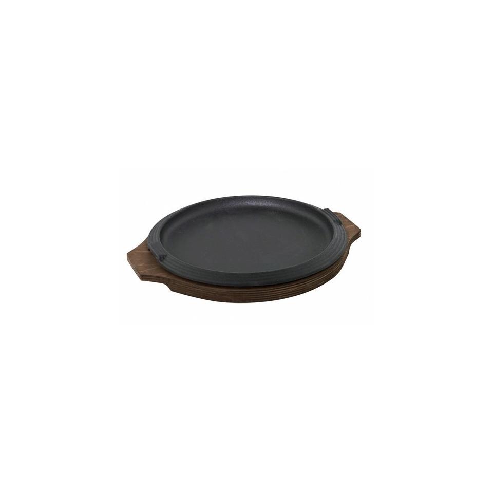 Piatto a servire in ghisa con vassoio in legno, Ilsa rotondo cm 16